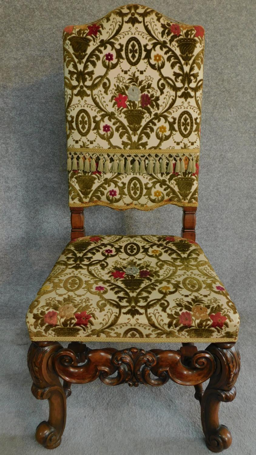 A Victorian carved oak armchair with tapestry style floral upholstery, raised on stretchered - Image 2 of 6