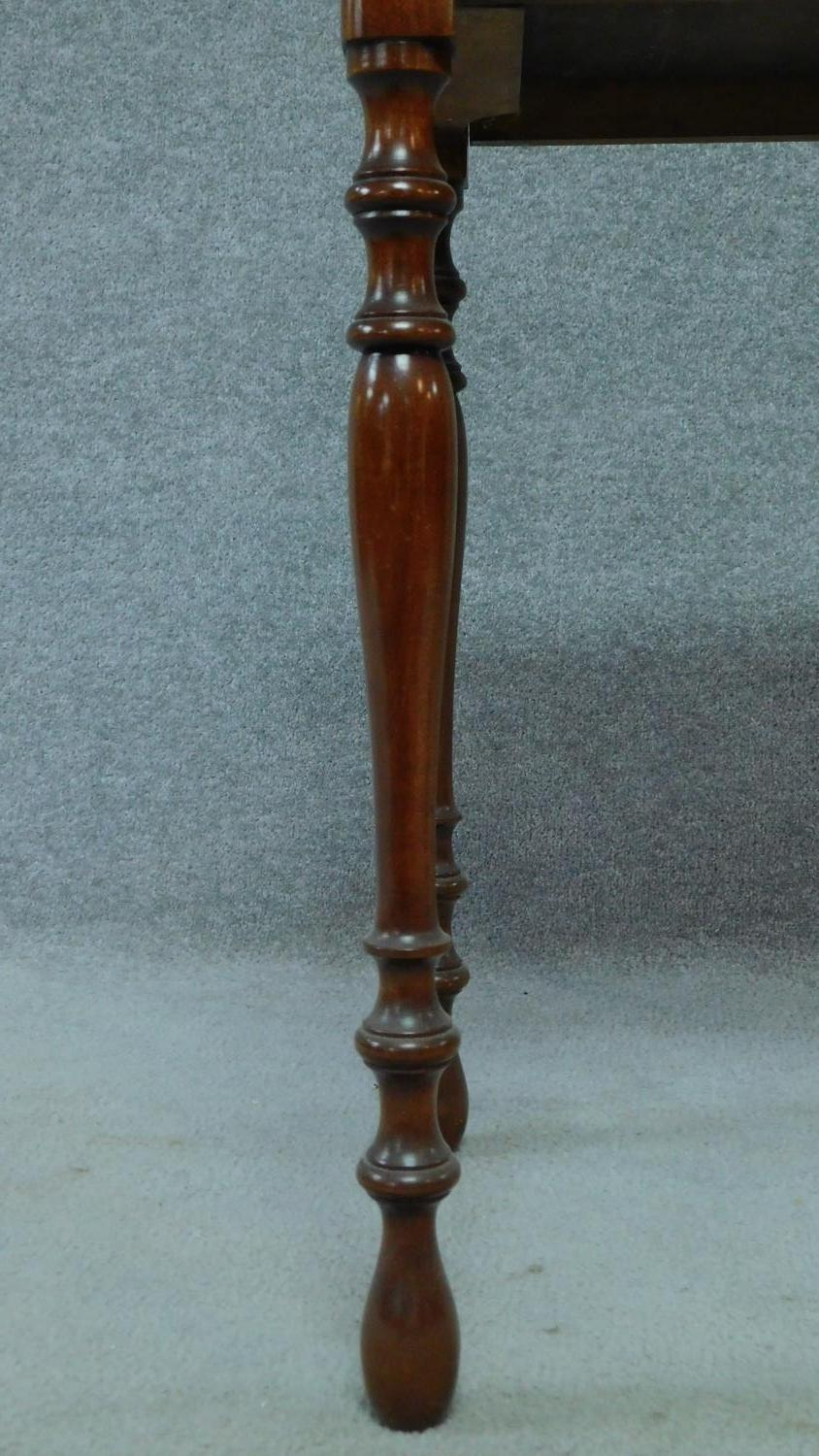 A late 19th century mahogany bedside table with frieze drawer, raised on turned tapering supports. - Image 5 of 5