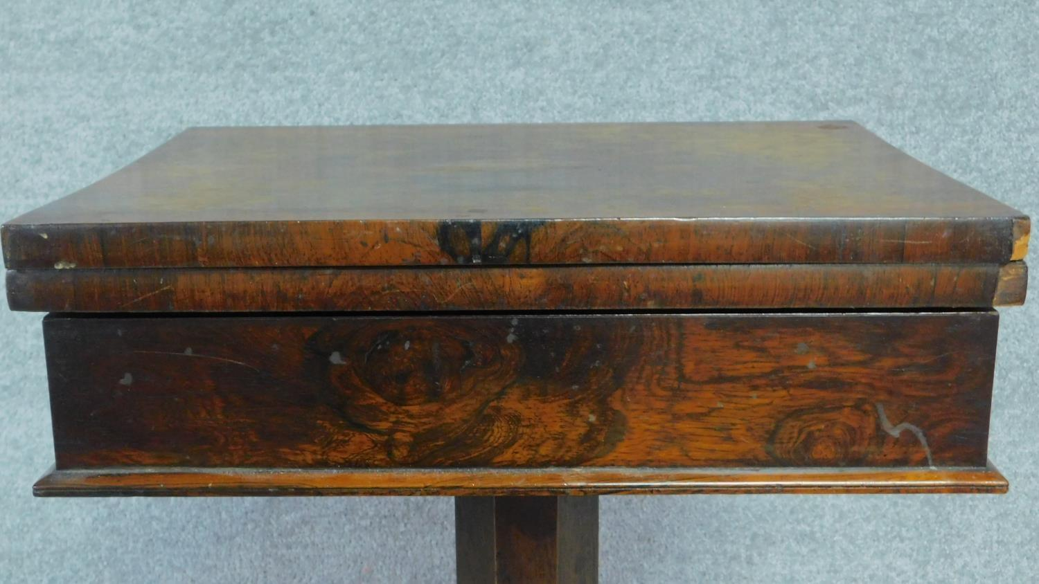 A William IV mahogany work table with fold over top enclosing interior compartment. H.73 W.71 D.46 - Image 2 of 4