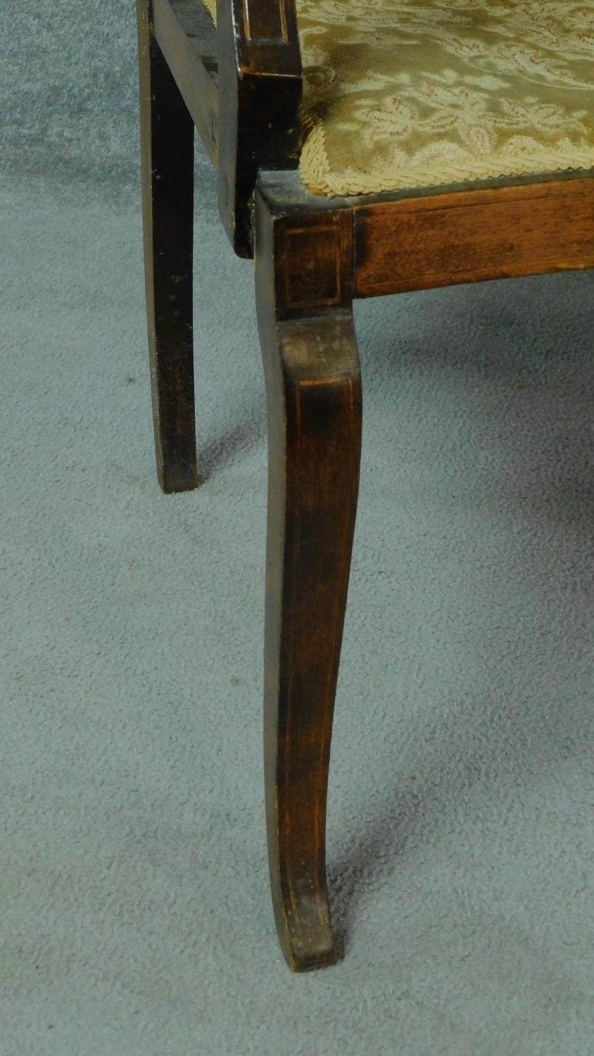 A late Victorian mahogany and satinwood inlaid armchair with urn design to the back, floral - Image 6 of 7