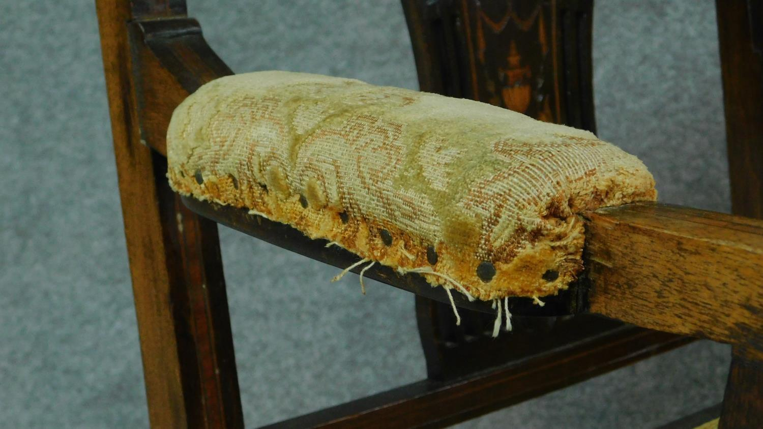 A late Victorian mahogany and satinwood inlaid armchair with urn design to the back, floral - Image 7 of 7