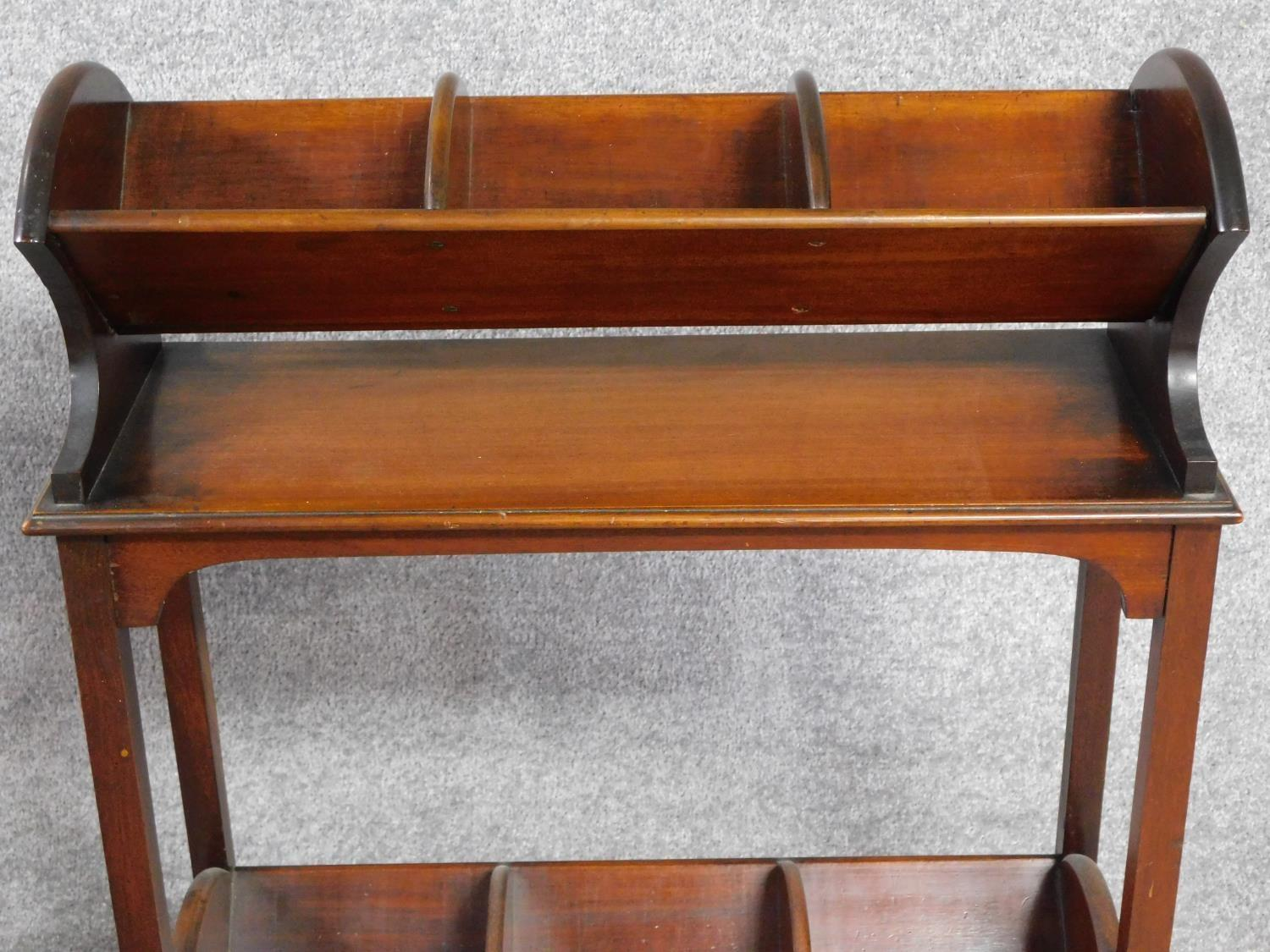 A late Victorian mahogany book trough with under tier, raised on square stretchered swept - Image 3 of 4