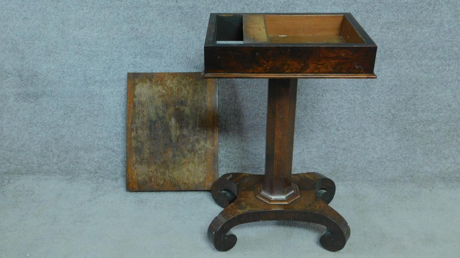 A William IV mahogany work table with fold over top enclosing interior compartment. H.73 W.71 D.46 - Image 4 of 4