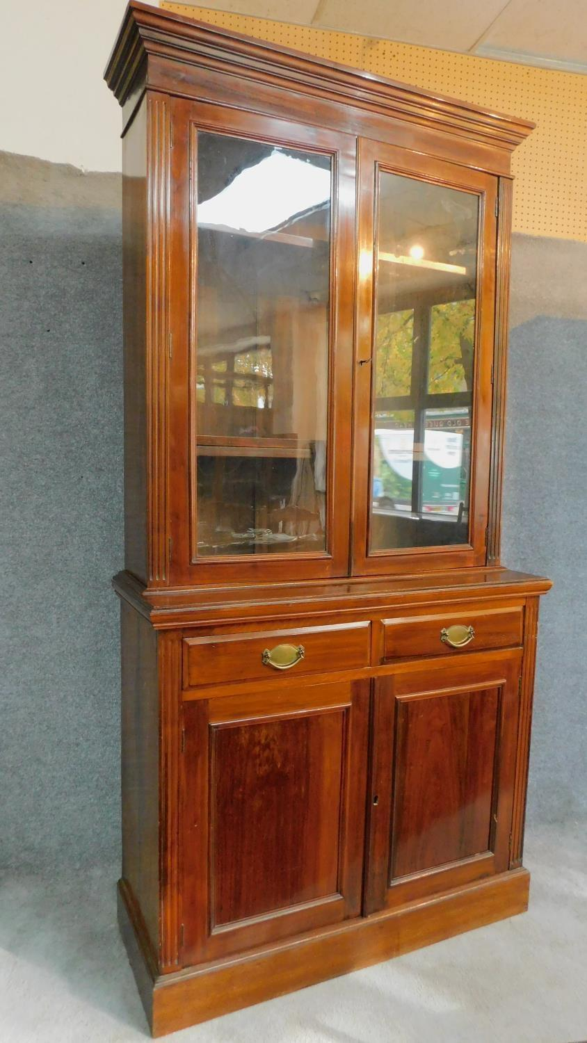 A late 19th century walnut library bookcase with glazed upper section above pair of frieze drawers - Image 3 of 4