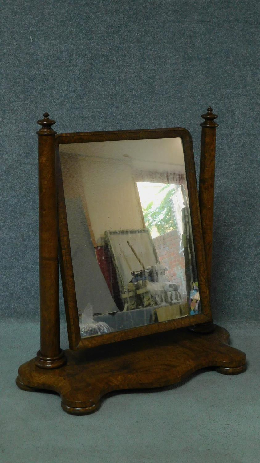 A Victorian burr walnut adjustable toilet mirror. H.84 W.80cm - Image 2 of 5