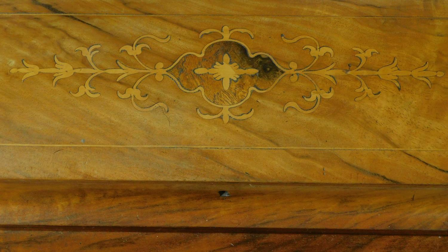 A Victorian burr walnut and satinwood Arabesque inlaid Davenport fitted with four drawers opposing - Image 6 of 8