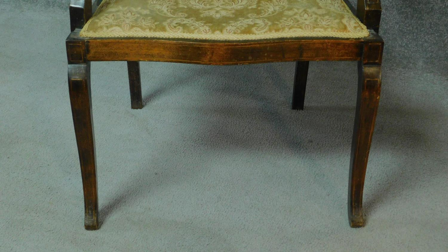 A late Victorian mahogany and satinwood inlaid armchair with urn design to the back, floral - Image 5 of 7