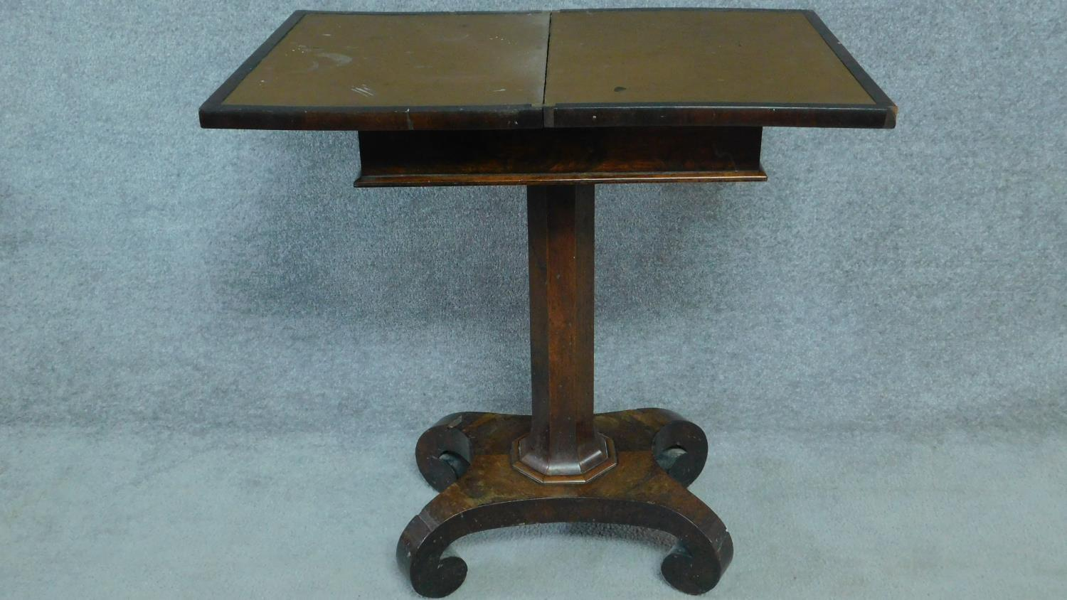 A William IV mahogany work table with fold over top enclosing interior compartment. H.73 W.71 D.46 - Image 3 of 4