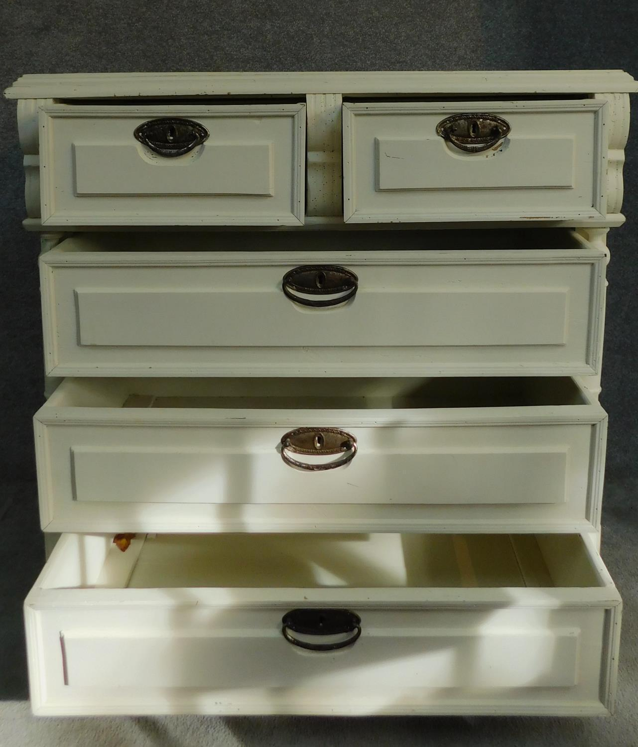 A 19th century continental painted chest of two short over three long drawers flanked by turned - Image 2 of 7