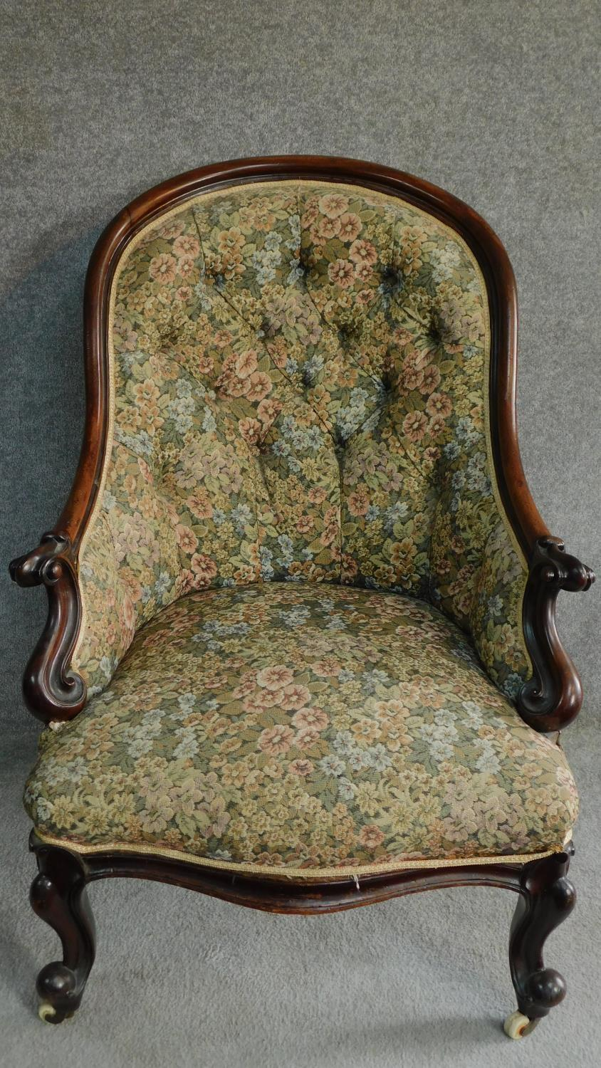 A Victorian mahogany framed floral upholstered buttoned back armchair raised on carved cabriole - Image 2 of 6