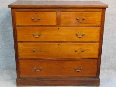 A Victorian mahogany chest of two short over three long drawers raised on plinth base. (handles