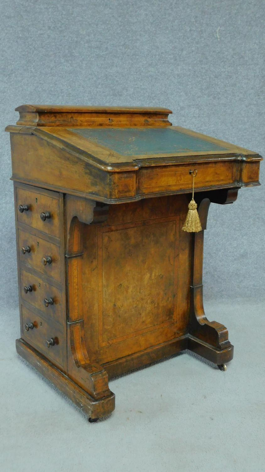 A mid Victorian walnut and satinwood inlaid Davenport with green leather top enclosing fitted - Image 3 of 8