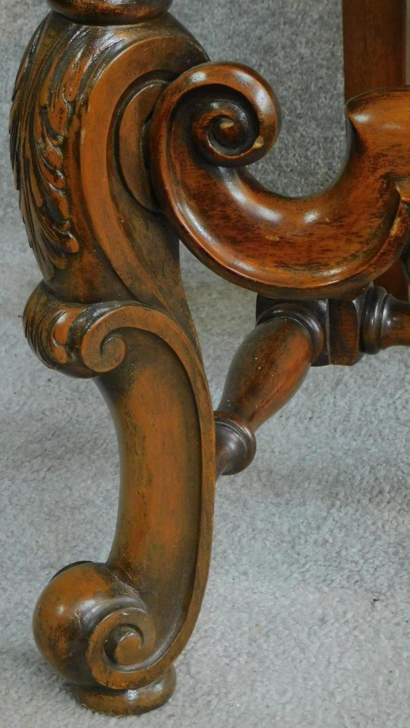 A Victorian carved oak armchair with tapestry style floral upholstery, raised on stretchered - Image 6 of 6