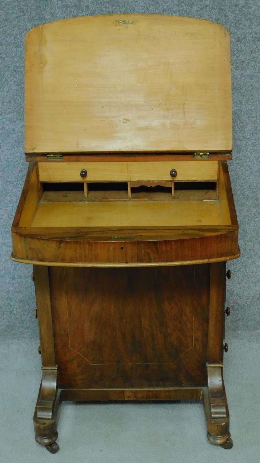 A Victorian burr walnut and satinwood Arabesque inlaid Davenport fitted with four drawers opposing - Image 5 of 8