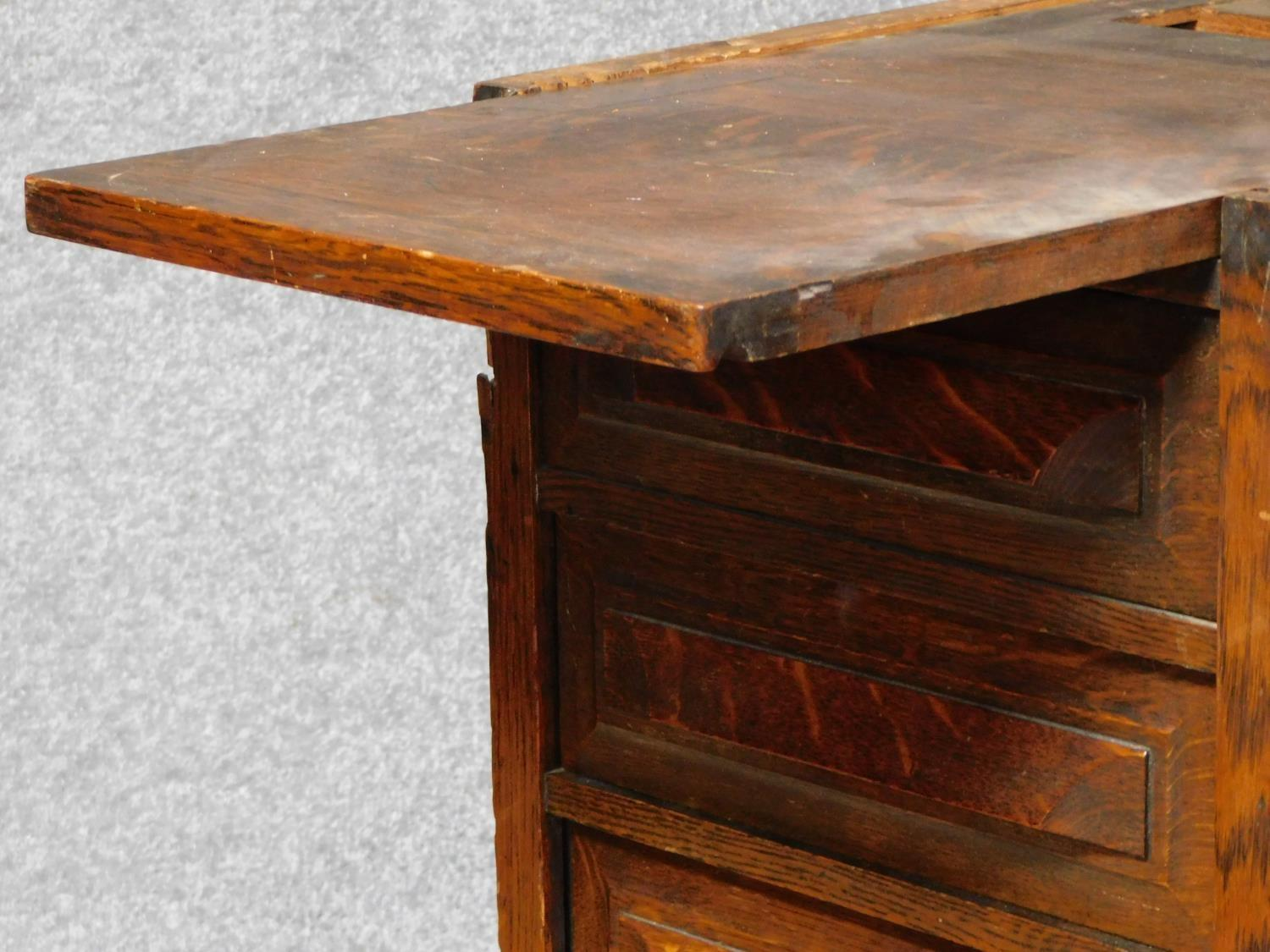 A late 19th century oak roll top desk with tambour shutter enclosing fitted interior above an - Image 5 of 9