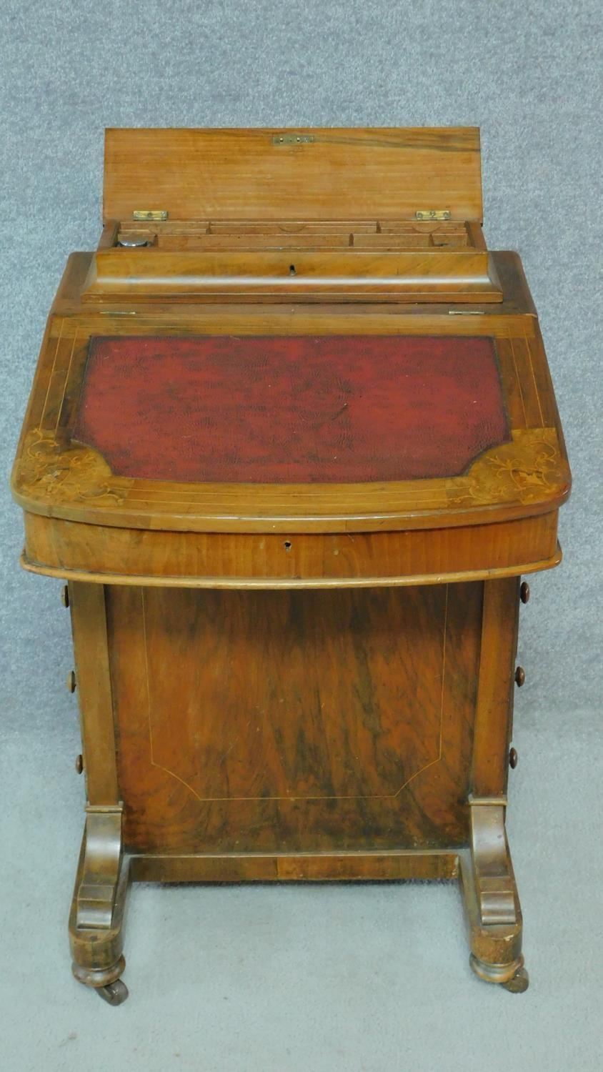 A Victorian burr walnut and satinwood Arabesque inlaid Davenport fitted with four drawers opposing - Image 3 of 8