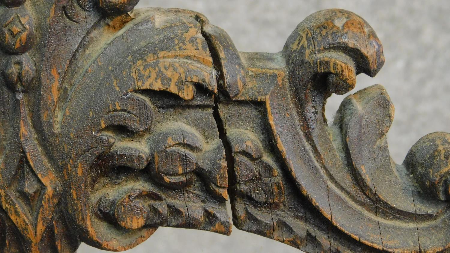 A carved oak Victorian pole screen on naturalistic base, fitted glazed panel. H.158cm - Image 6 of 6