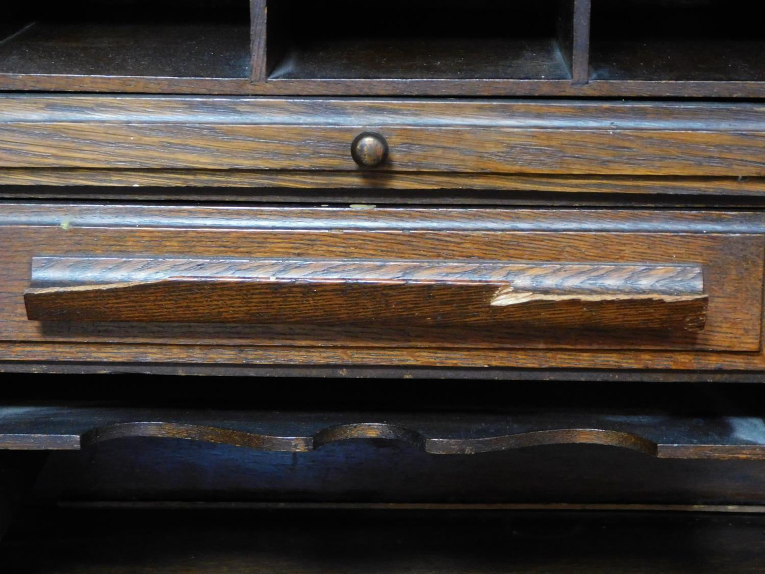 A late 19th century oak roll top desk with tambour shutter enclosing fitted interior above an - Image 8 of 9