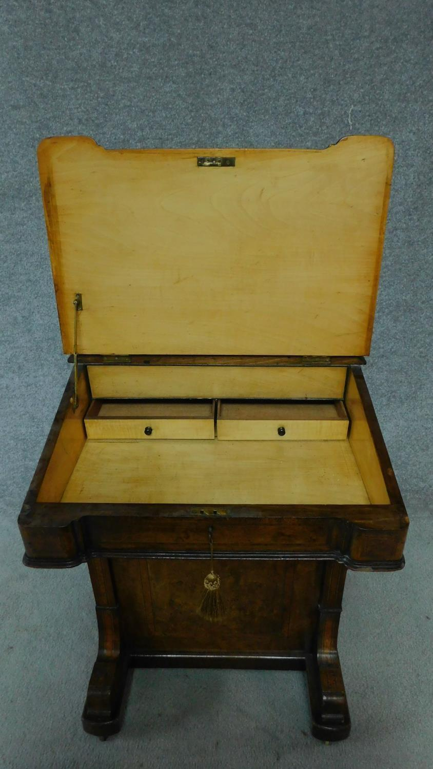 A mid Victorian walnut and satinwood inlaid Davenport with green leather top enclosing fitted - Image 5 of 8