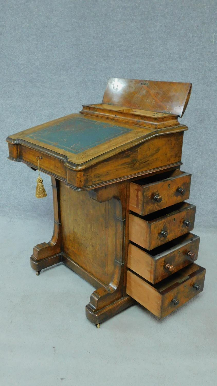A mid Victorian walnut and satinwood inlaid Davenport with green leather top enclosing fitted - Image 4 of 8
