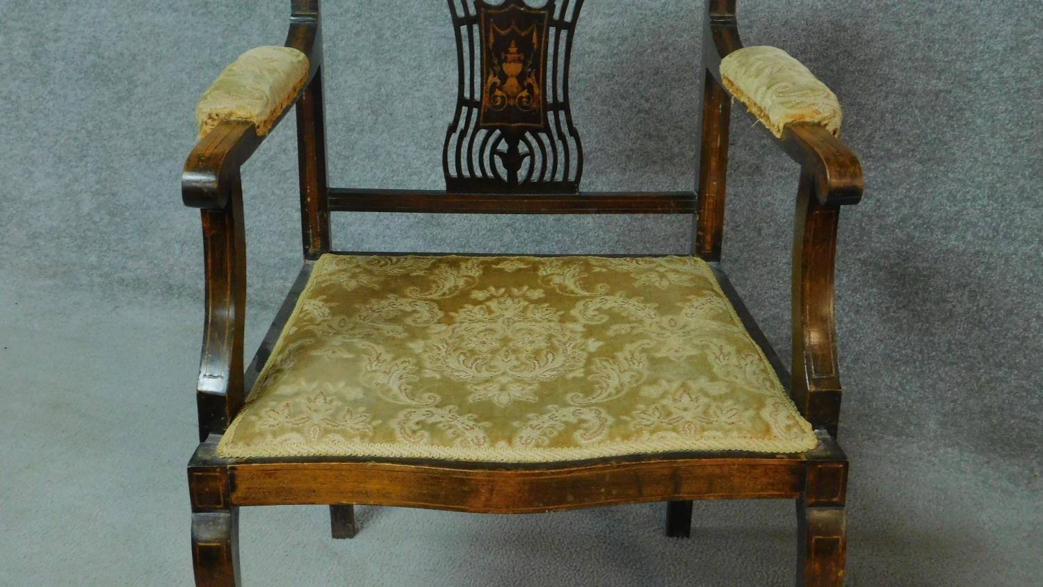 A late Victorian mahogany and satinwood inlaid armchair with urn design to the back, floral - Image 4 of 7