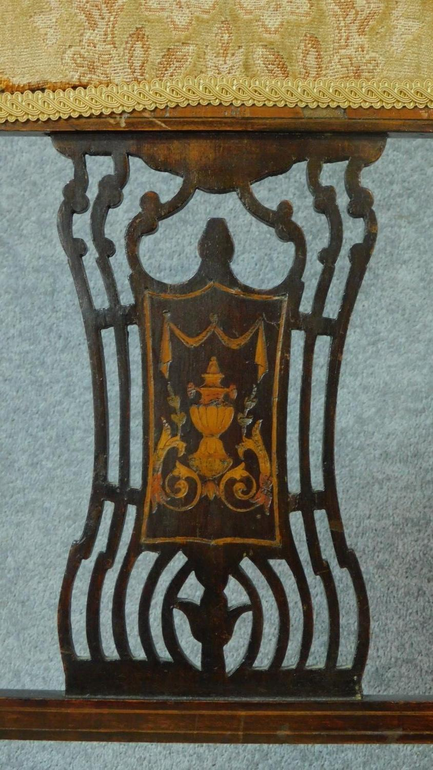 A late Victorian mahogany and satinwood inlaid armchair with urn design to the back, floral - Image 3 of 7