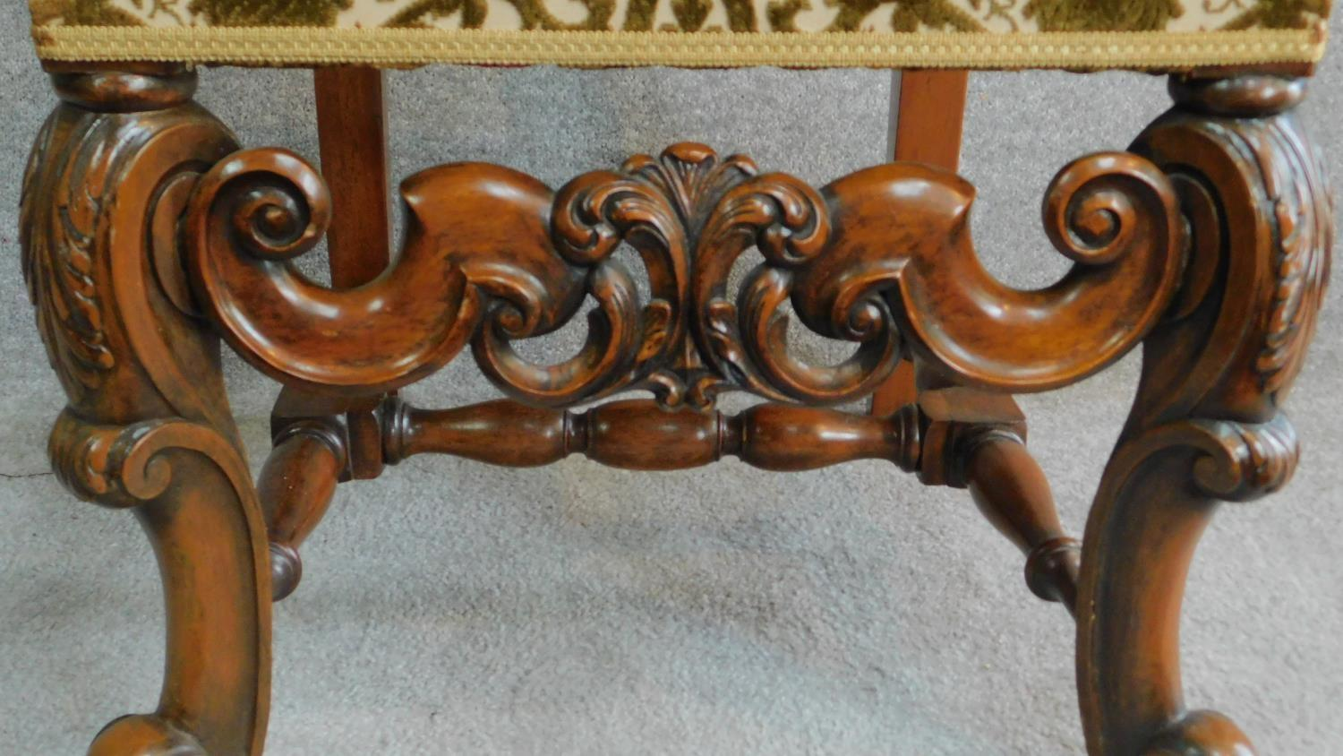 A Victorian carved oak armchair with tapestry style floral upholstery, raised on stretchered - Image 5 of 6