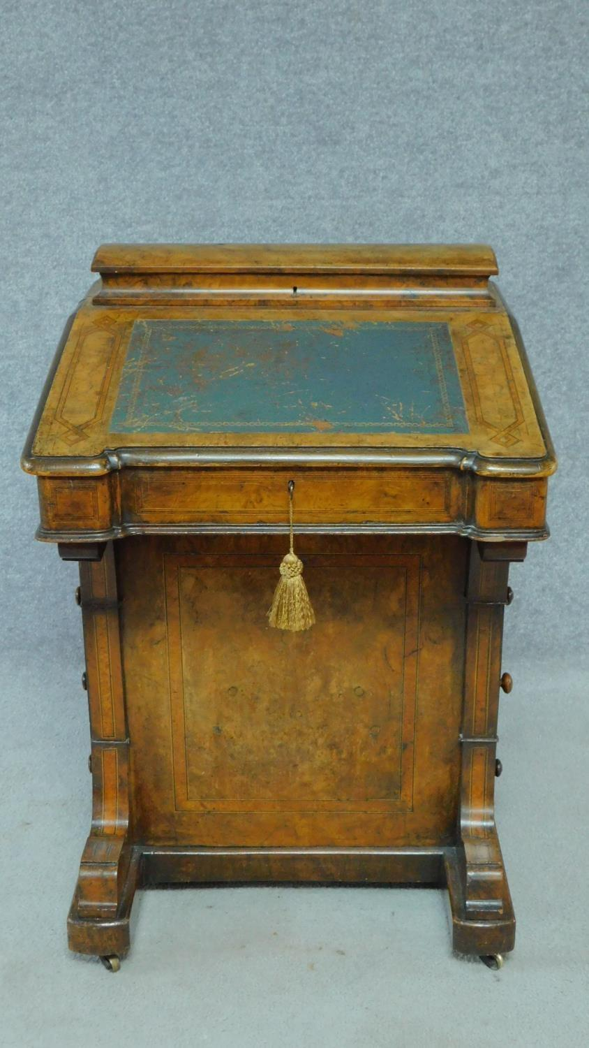 A mid Victorian walnut and satinwood inlaid Davenport with green leather top enclosing fitted - Image 2 of 8