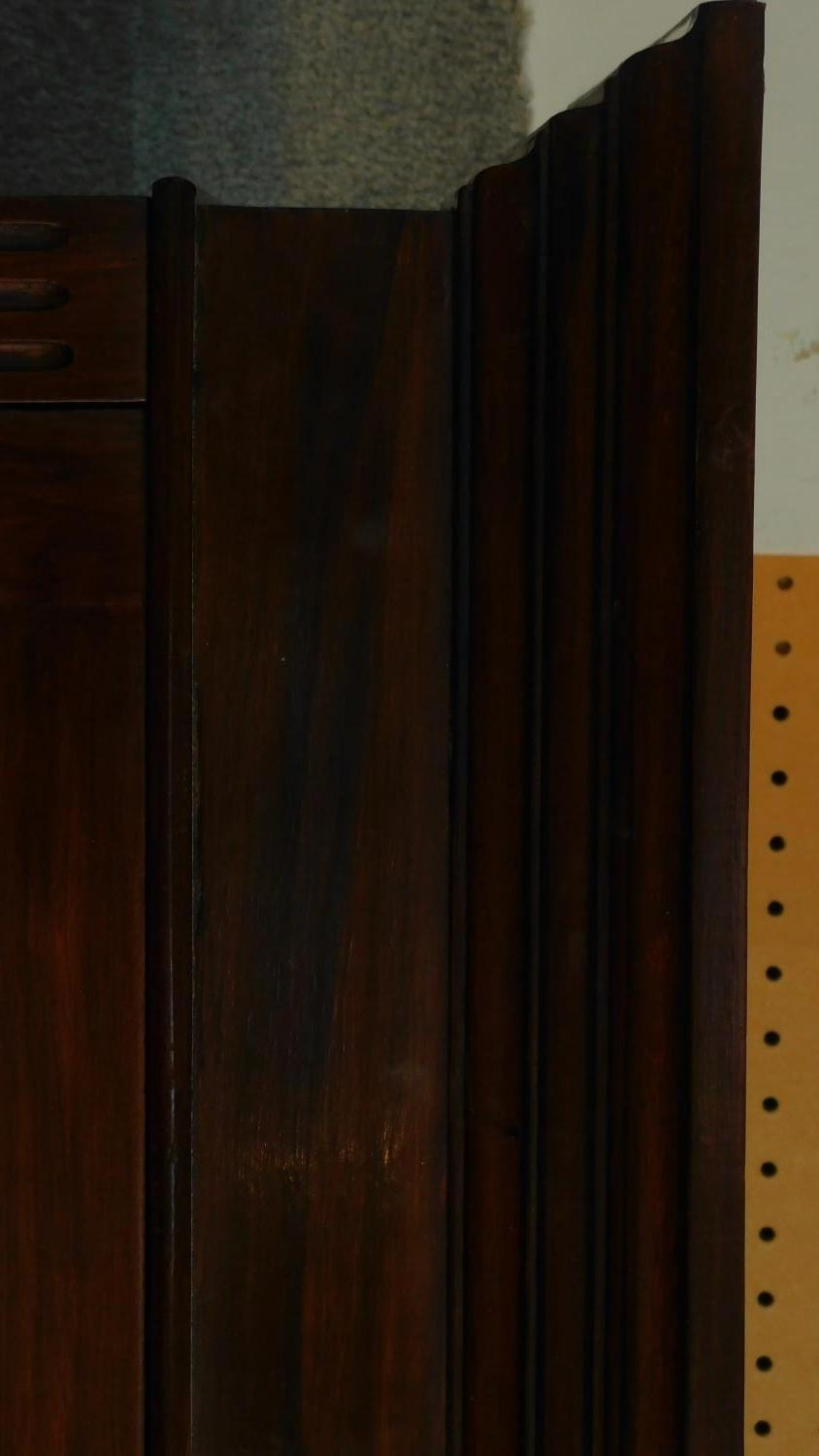A late 19th century walnut library bookcase with glazed upper section above pair of frieze drawers - Image 4 of 4