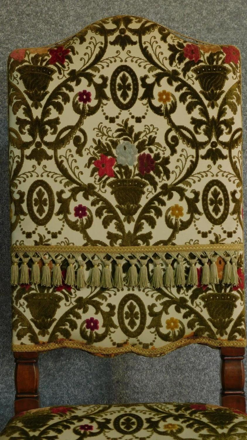 A Victorian carved oak armchair with tapestry style floral upholstery, raised on stretchered - Image 3 of 6