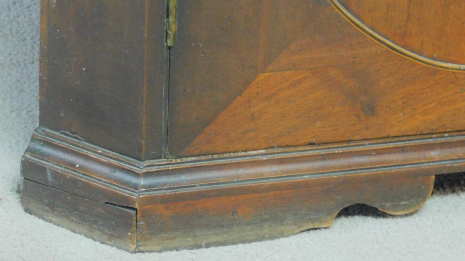 A Georgian mahogany and satinwood strung two section floor standing full height corner cupboard with - Image 3 of 6