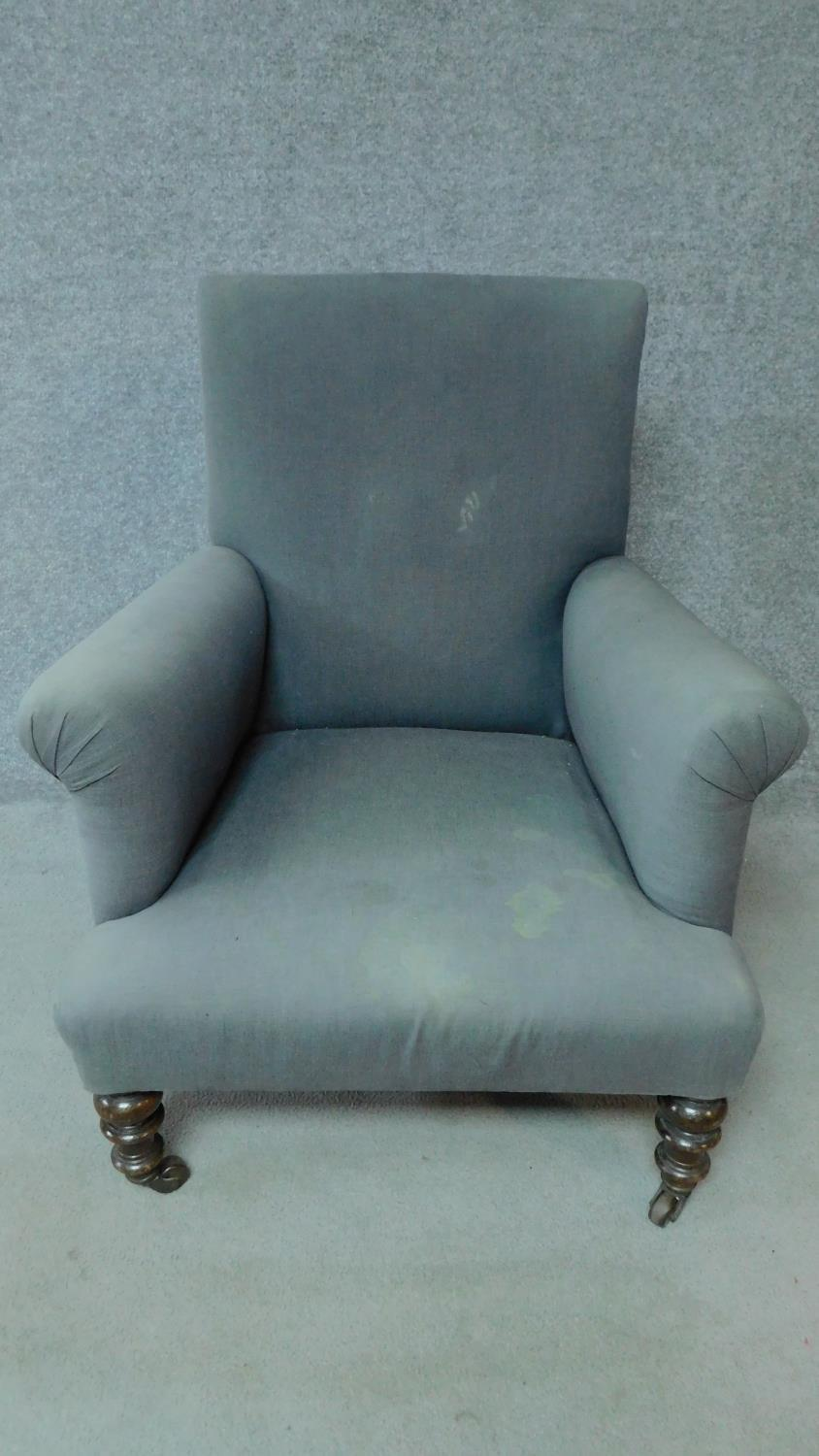 A 19th century mahogany framed upholstered armchair on turned tapering supports. H.85cm - Image 2 of 6
