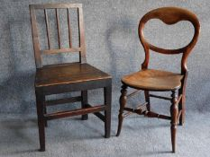 An antique country oak dining chair and a Victorian balloon back bedroom chair. H.87cm