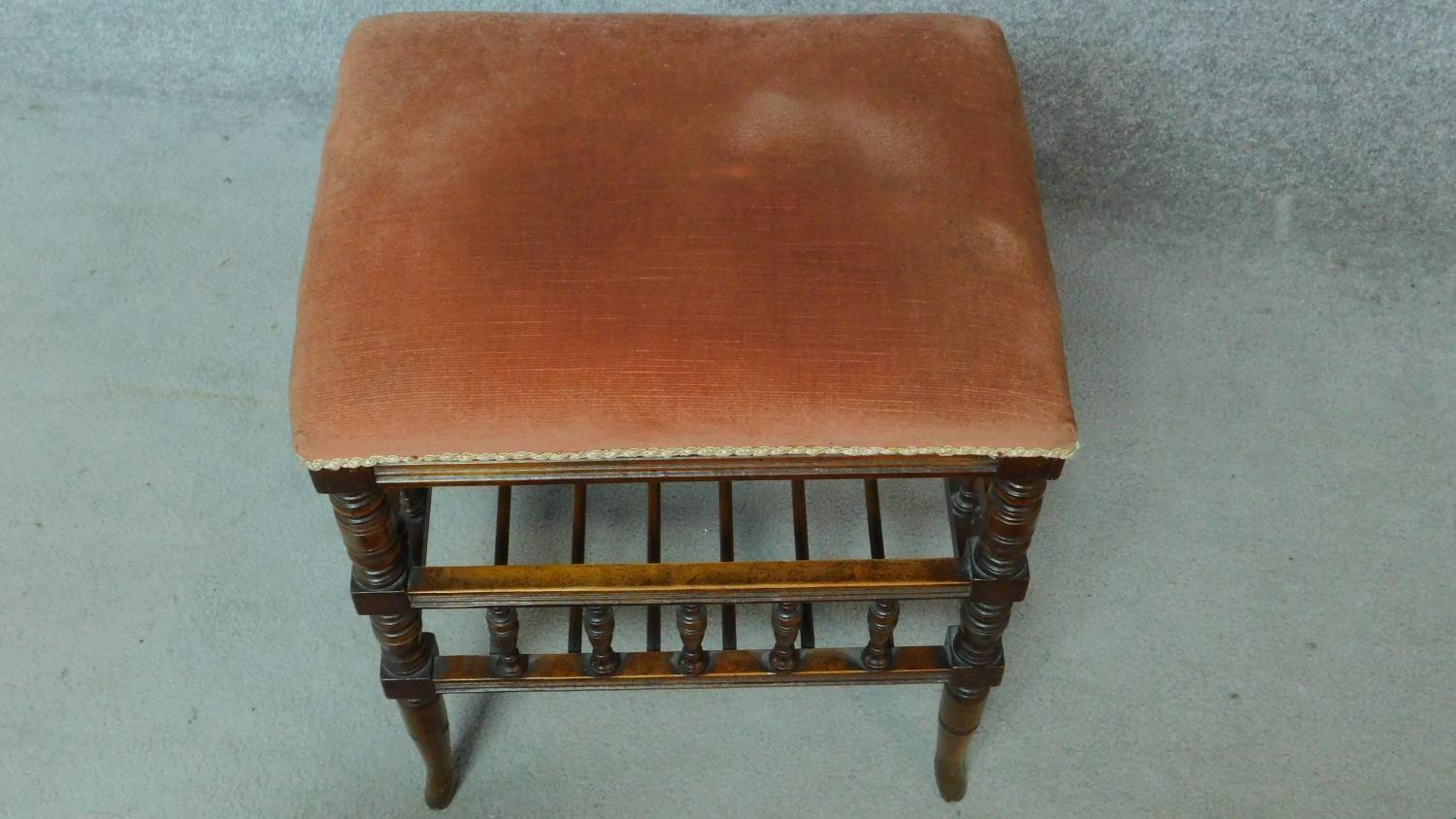 A 19th century walnut piano stool with fitted undertier for sheet music. H.55 W.46 D.36cm - Image 3 of 6