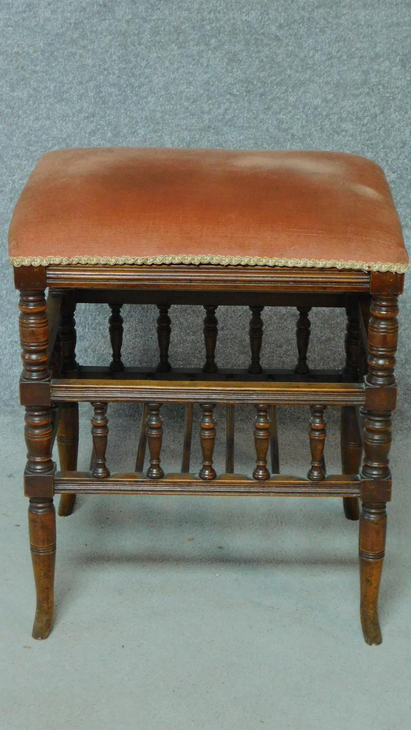 A 19th century walnut piano stool with fitted undertier for sheet music. H.55 W.46 D.36cm - Image 2 of 6