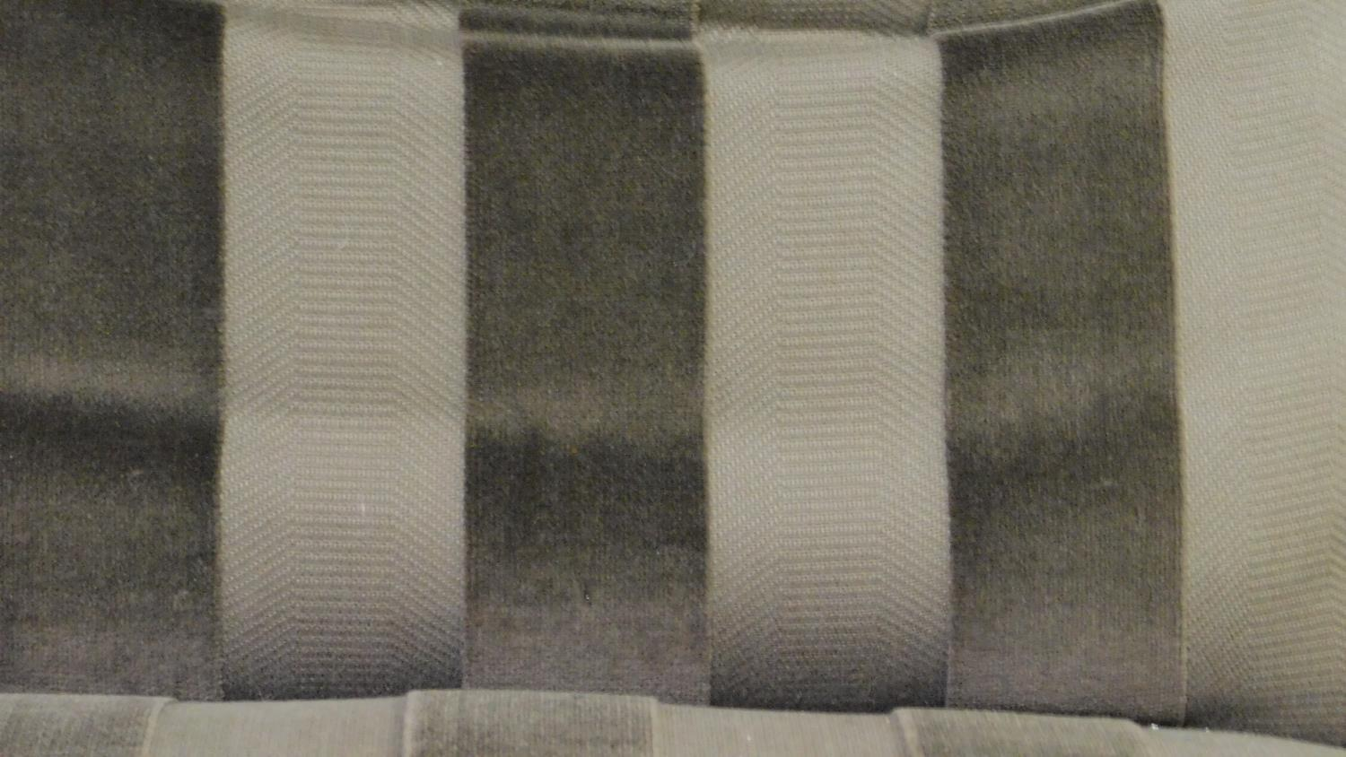 A 19th century style nursing chair in striped upholstery on turned tapering supports. H.87cm - Image 3 of 4