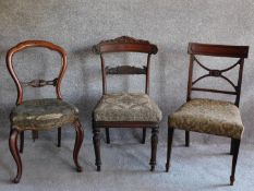 A William IV mahogany dining chair and two other 19th century dining chairs. H.89cm