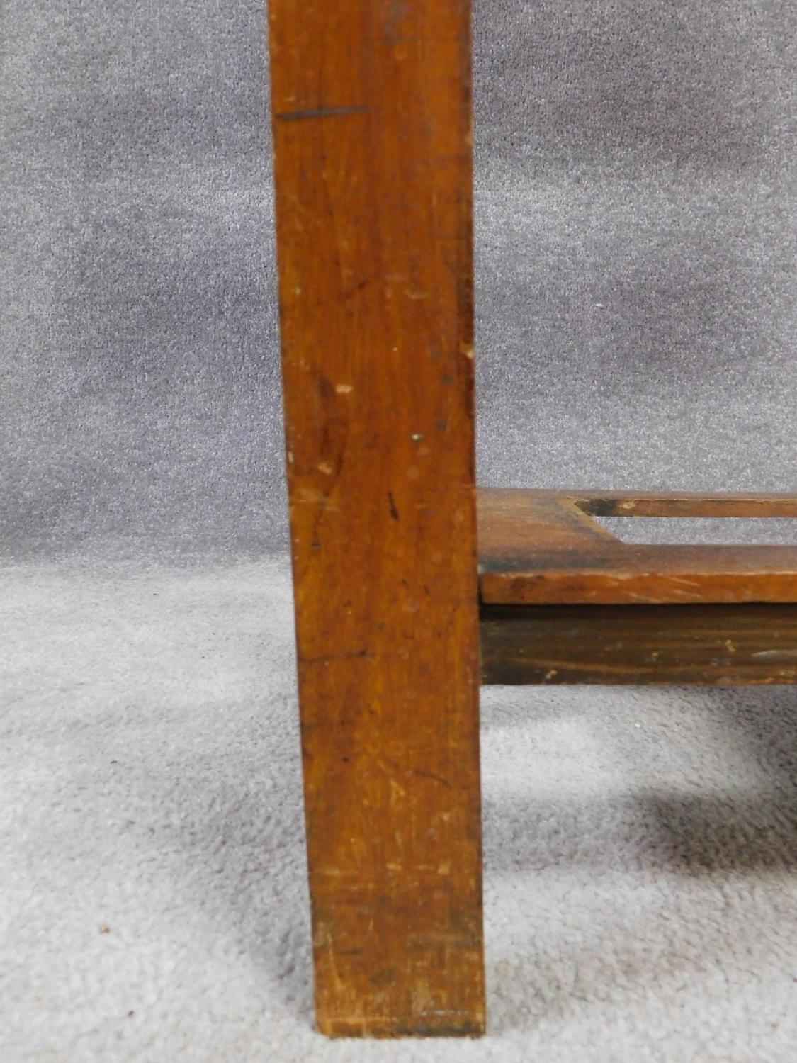 A 19th century Art Nouveau walnut hallstand with central mirror above glove compartment with - Image 5 of 6