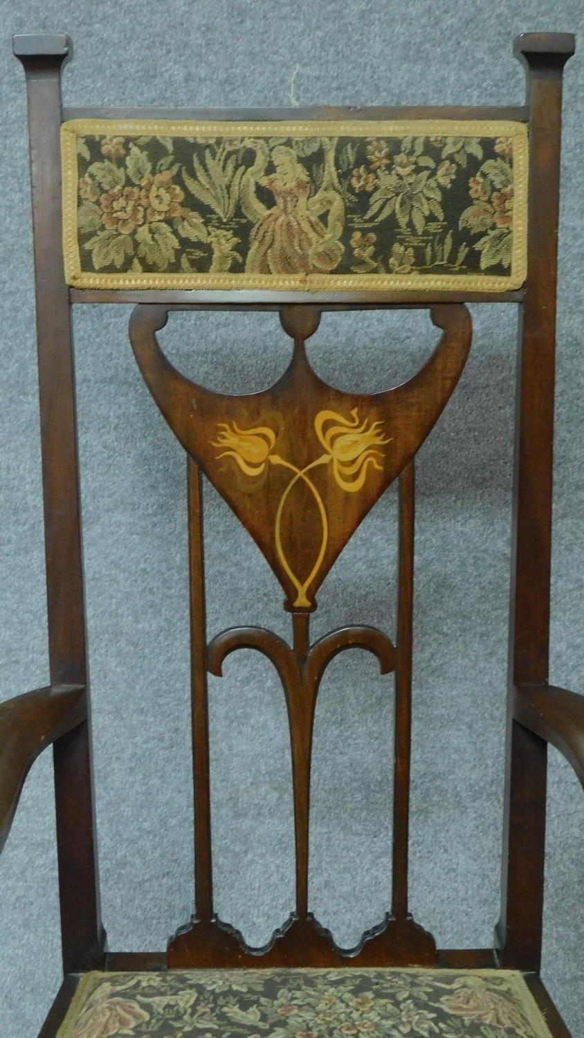 An Arts & Crafts mahogany and satinwood inlaid armchair with stylised motifs to the back splat in - Image 3 of 6