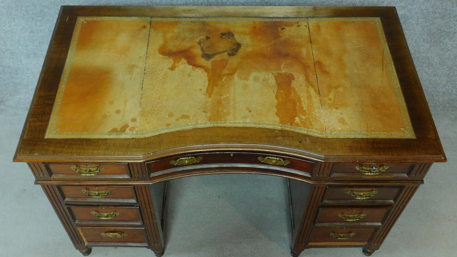 A late 19th century mahogany pedestal desk with leather inset top above an arrangement of nine - Image 4 of 7