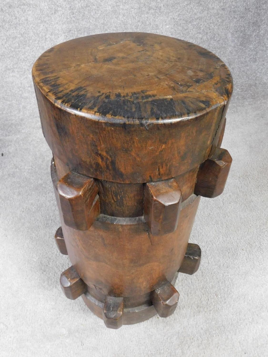 An antique hardwood stool converted from a ship's capstan. H.59 W.27cm - Image 2 of 3