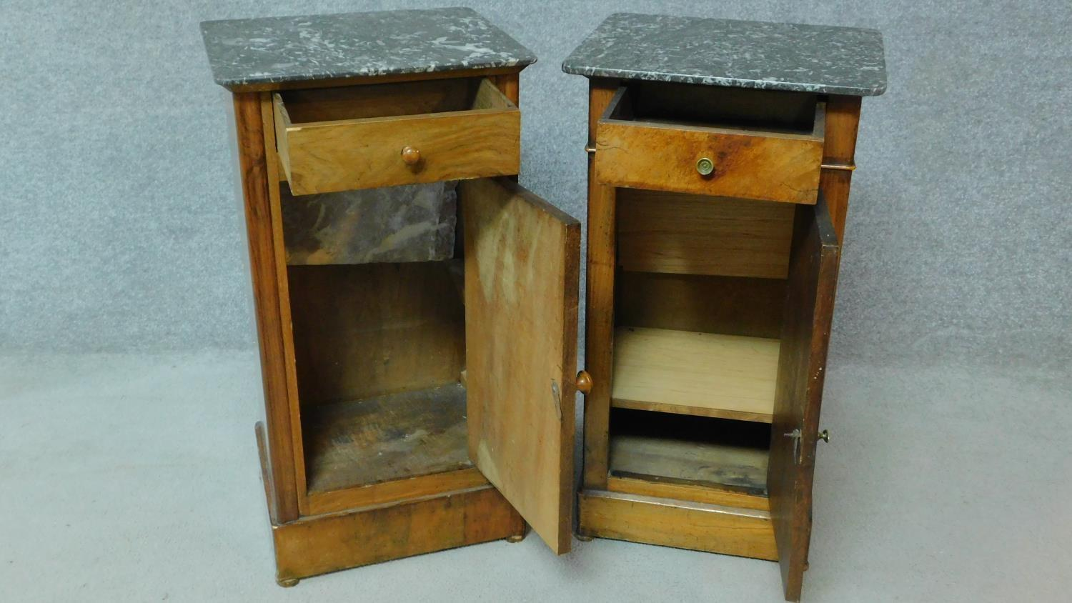 A near pair of 19th century Continental walnut bedside cabinets with grey veined marble tops and - Image 2 of 5