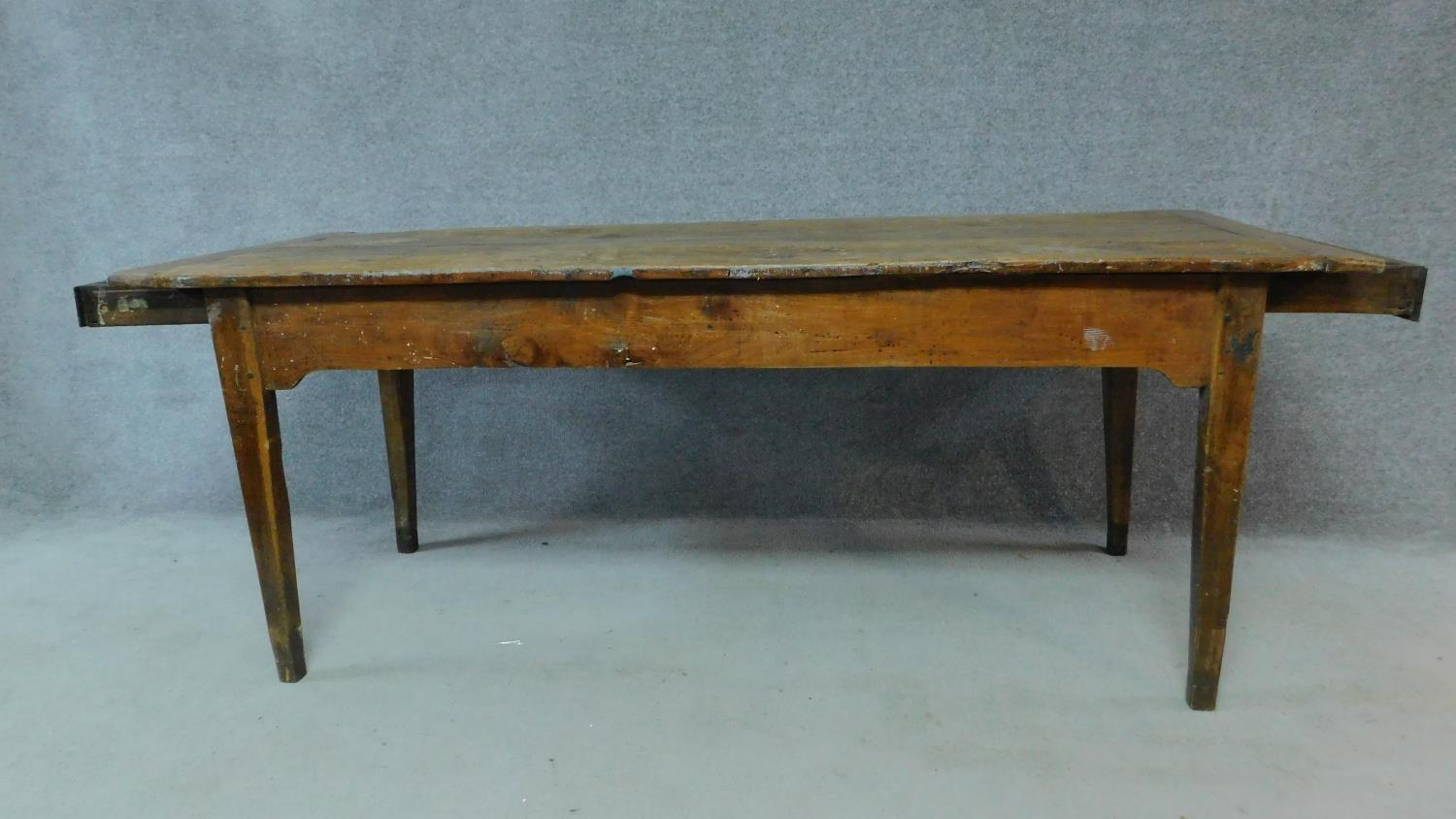 An antique oak planked top refectory dining table with cleated ends and twin end drawers on square - Image 3 of 6