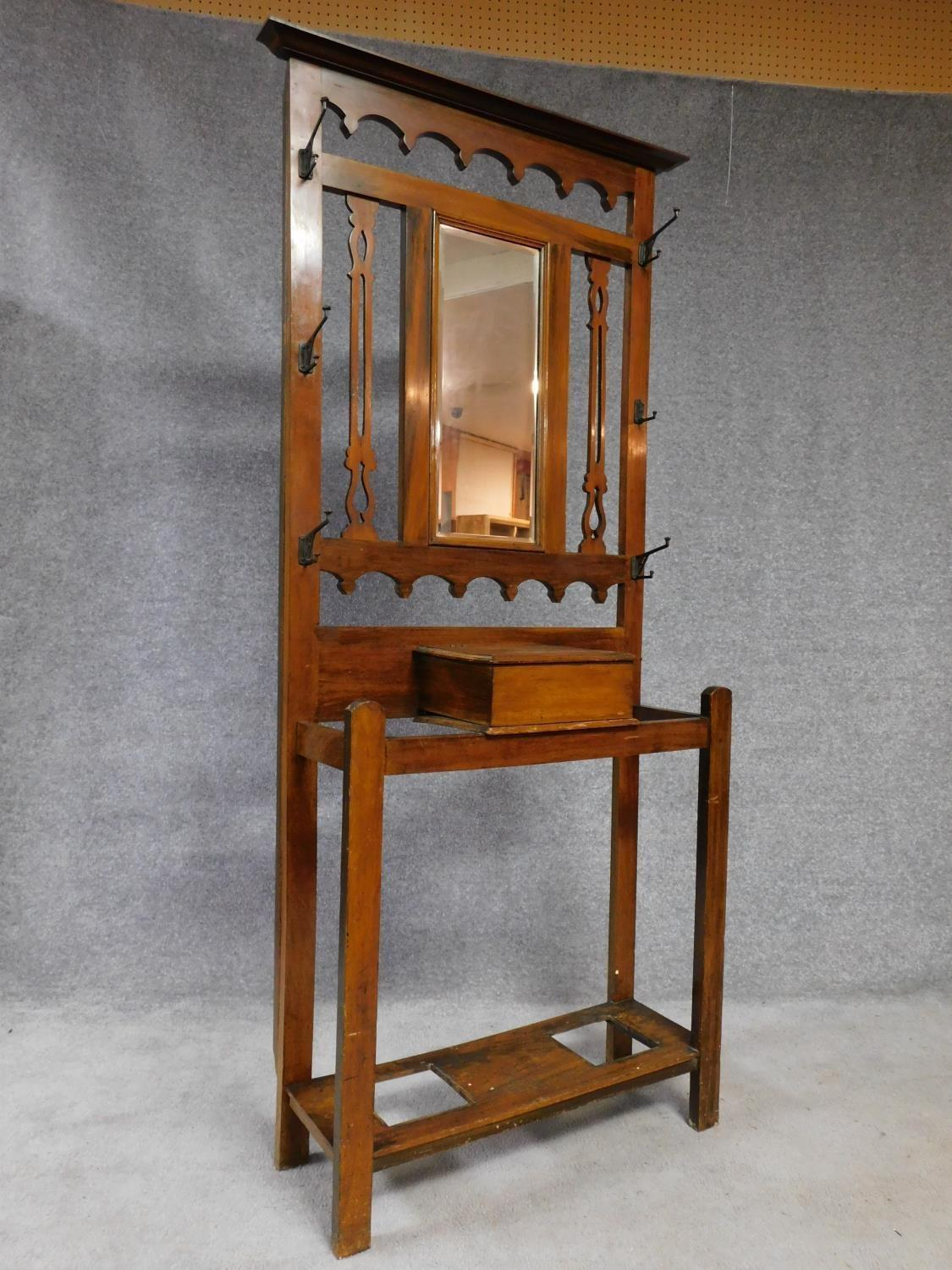 A 19th century Art Nouveau walnut hallstand with central mirror above glove compartment with - Image 2 of 6