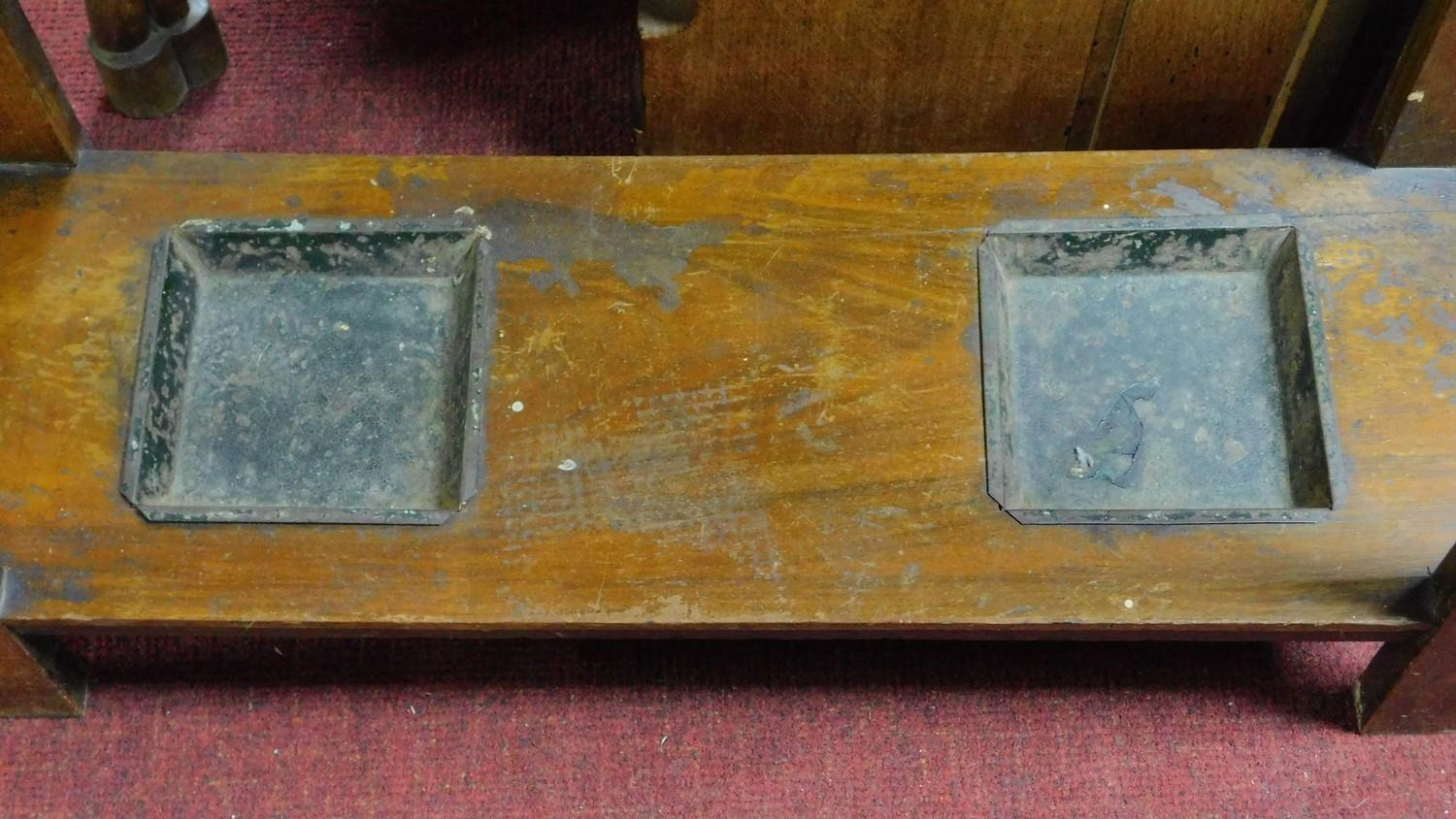 A 19th century Art Nouveau walnut hallstand with central mirror above glove compartment with - Image 6 of 6