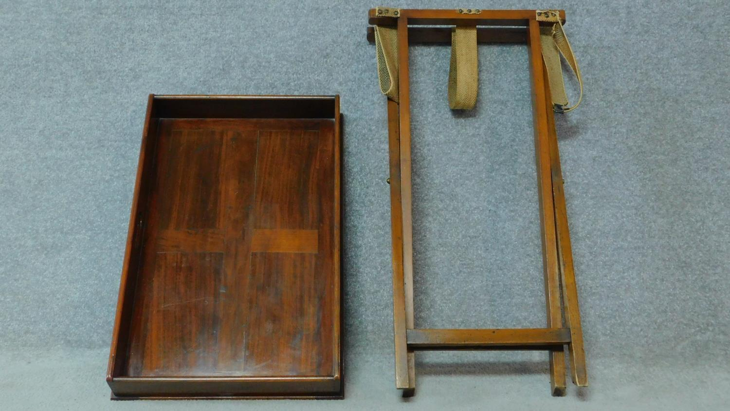 A Georgian Cuban mahogany butler's tray with folding stand. H.81 W.71 D.46cm - Image 4 of 5