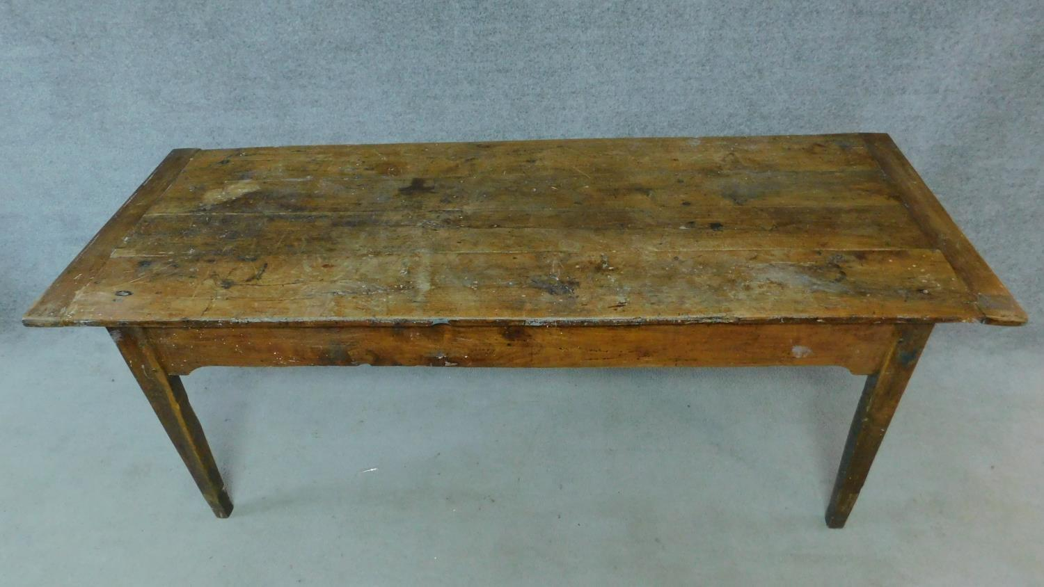 An antique oak planked top refectory dining table with cleated ends and twin end drawers on square - Image 2 of 6