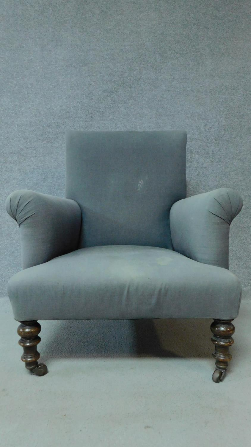 A 19th century mahogany framed upholstered armchair on turned tapering supports. H.85cm - Image 3 of 6