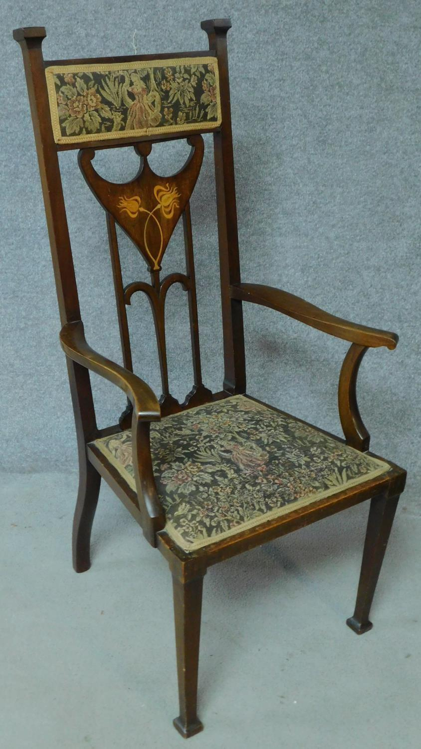 An Arts & Crafts mahogany and satinwood inlaid armchair with stylised motifs to the back splat in - Image 2 of 6