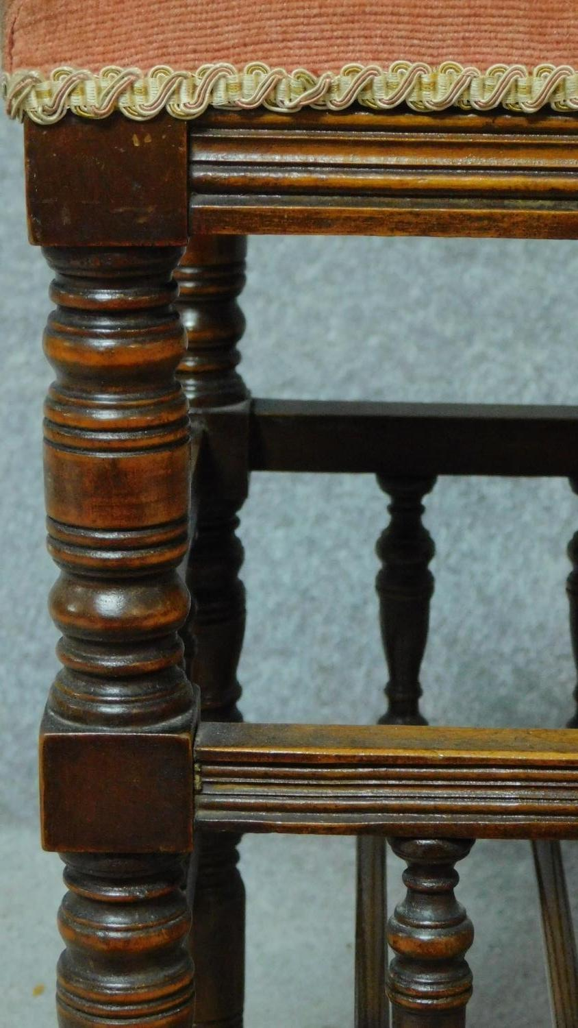 A 19th century walnut piano stool with fitted undertier for sheet music. H.55 W.46 D.36cm - Image 4 of 6